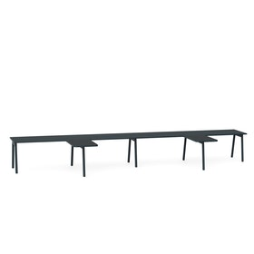 "Series A Single Desk for 4 with 2 Returns, Dark Oak, 57"", Charcoal Legs,Dark Oak,hi-res"
