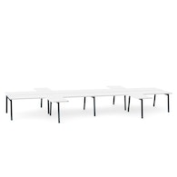 "Charcoal + White Series A Double Desk for 8 with 4 Returns, 57"" Tops,White,hi-res"
