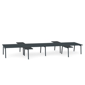 "Charcoal + Dark Oak Series A Double Desk for 8 with 4 Returns, 57"" Tops,Dark Oak,hi-res"