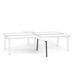 "Series A 2 Returns Add On for 57"" White Double Desk, Charcoal Legs,White,hi-res"