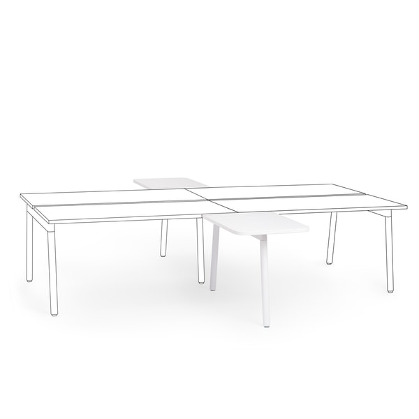 "Series A 2 Returns Add On for 57"" White Double Desk, White Legs,White,hi-res"