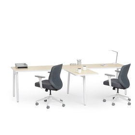 "Series A Single Desk for 2 with 1 Return, Light Oak, 57"", White Legs,Light Oak,hi-res"