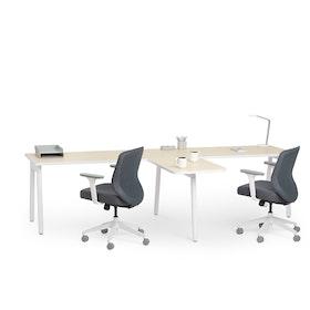"""Series A Single Desk for 2 with 1 Return, Light Oak, 57"""", White Legs,Light Oak,hi-res"""