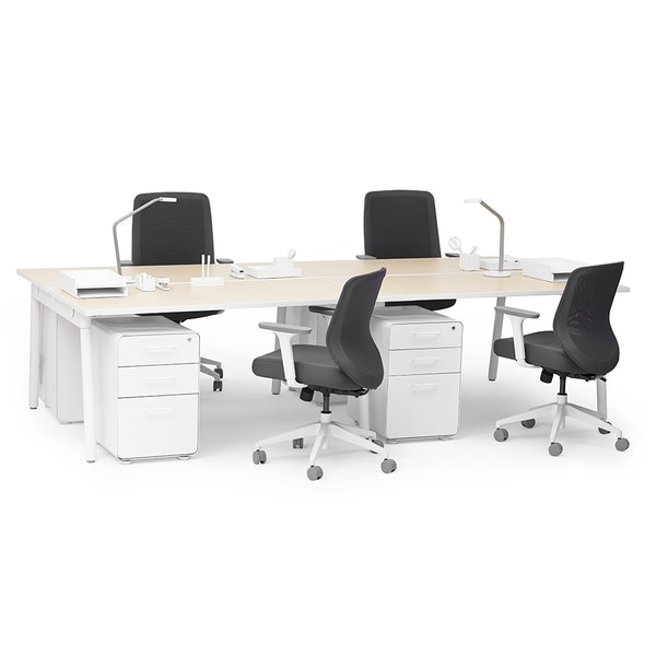 "Series A Double Desk for 4, Natural Oak, 47"", White Legs,,hi-res"