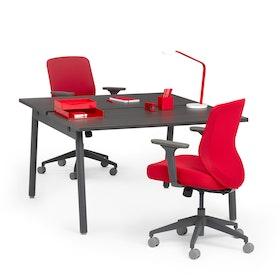 """Series A Double Desk for 2, Dark Oak, 47"""", Charcoal Legs,Dark Oak,hi-res"""