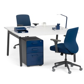 "Series A Double Desk for 2, White, 57"", Charcoal Legs,White,hi-res"