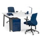 """Series A Double Desk for 2, White, 57"""", Charcoal Legs,White,hi-res"""