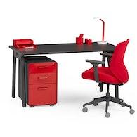 "Series A Single Desk for 1, Dark Oak, 57"", Charcoal Legs,Dark Oak,hi-res"