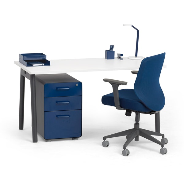 """Series A Single Desk for 1, White, 57"""", Charcoal Legs,White,hi-res"""
