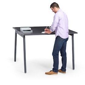 "Series A Standing Double Desk for 2, Dark Oak, 57"", Charcoal Legs,Dark Oak,hi-res"