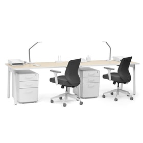"Series A Single Desk for 2, Light Oak, 57"", White Legs,Light Oak,hi-res"