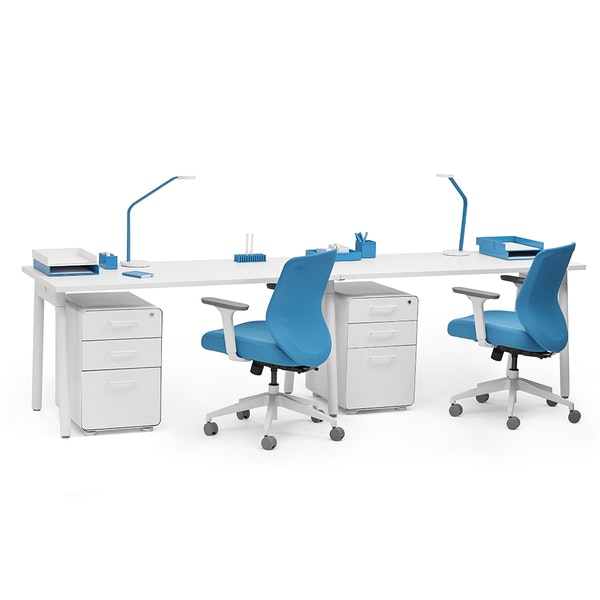 "Series A Single Desk for 2, White, 57"", White Legs,White,hi-res"