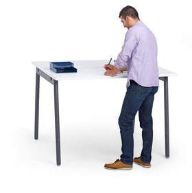 "Series A Standing Double Desk for 2, White, 57"", Charcoal Legs,White,hi-res"