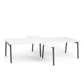 "Charcoal + White Series A Double Desk for 4 with 2 Returns, 57""Tops,White,hi-res"