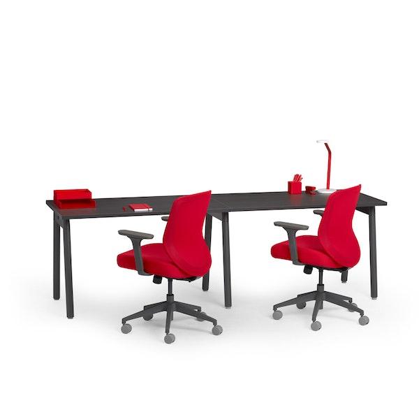"Series A Single Desk for 2, Dark Oak, 47"", Charcoal Legs,Dark Oak,hi-res"