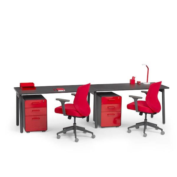 "Series A Single Desk for 2, Dark Oak, 57"", Charcoal Legs,Dark Oak,hi-res"
