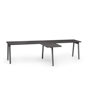 "Series A Single Desk for 2 with 1 Return, Dark Oak, 57"", Charcoal Legs,Dark Oak,hi-res"