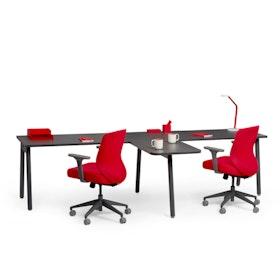 "Series A Single Desk for 2 with 1 Return, Dark Oak, 57"", Charcoal Legs,Dark Oak,hi-res"