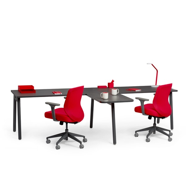 "Series A Single Desk for 2 with 1 Return, Dark Oak, 57"", Charcoal Legs,,hi-res"