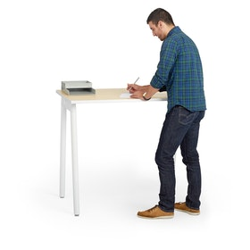 "Series A Standing Single Desk for 1, Light Oak, 47"", White Legs,Light Oak,hi-res"