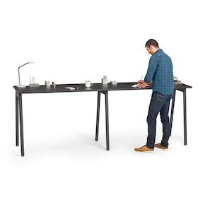 "Series A Standing Single Desk for 2, Dark Oak, 57"", Charcoal Legs,Dark Oak,hi-res"