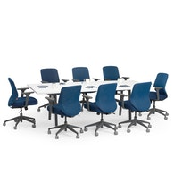 """Series A Conference Table, White, 96"""" x 42"""", Charcoal Legs,White,hi-res"""