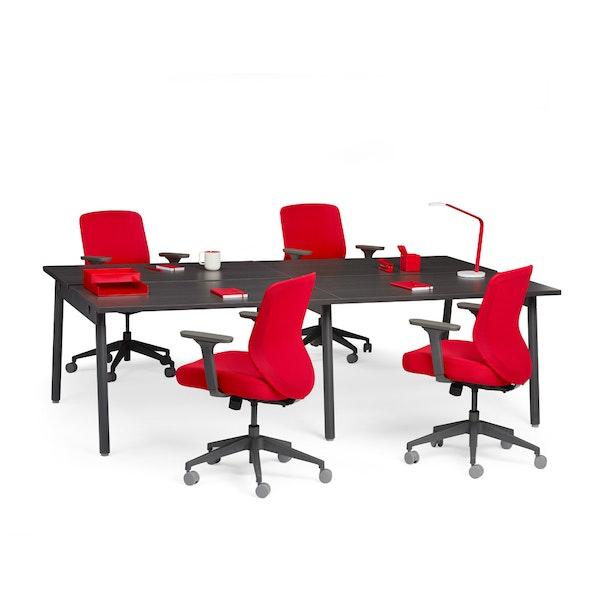 """Series A Double Desk for 4, Dark Oak, 47"""", Charcoal Legs,Dark Oak,hi-res"""