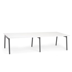 "Series A Double Desk for 4, White, 57"", Charcoal Legs,White,hi-res"