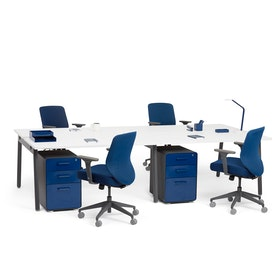 """Series A Double Desk for 4, White, 57"""", Charcoal Legs,White,hi-res"""