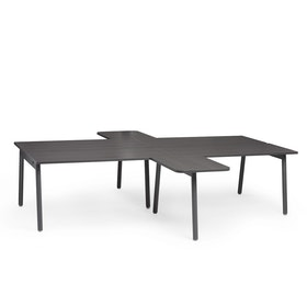 "Charcoal + Dark Oak Series A Double Desk for 4 with 2 Returns, 57"" Tops,Dark Oak,hi-res"