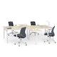 "White + Light Oak Series A Double Desk for 4 with 2 Returns, 57"" Tops,Light Oak,hi-res"