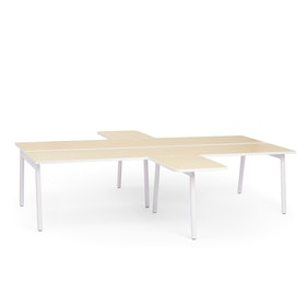 "White + Light Oak Series A Double Desk for 4 with 2 Returns, 57"" Tops,Light Oak,hi-res"