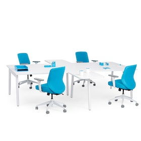 """White Series A Double Desk for 4 with 2 Returns, 57"""" Tops,White,hi-res"""
