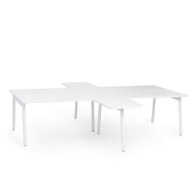 "White Series A Double Desk for 4 with 2 Returns, 57"" Tops,White,hi-res"