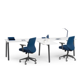 """Series A Single Desk for 2 with 1 Return, White, 57"""", Charcoal Legs,White,hi-res"""