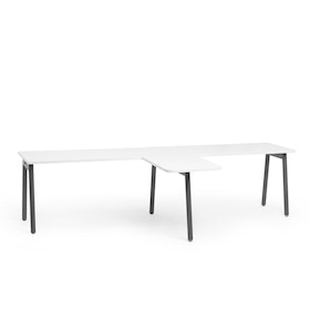"Series A Single Desk for 2 with 1 Return, White, 57"", Charcoal Legs,White,hi-res"