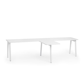 "Series A Single Desk for 2 with 1 Return, White, 57"", White Legs,White,hi-res"