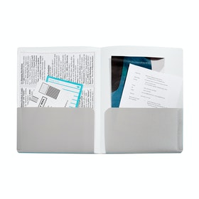 Aqua + Light Gray 2-Pocket Poly Folder,Aqua,hi-res