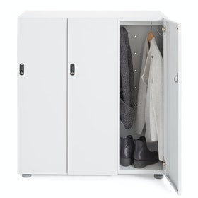White Stash 3-Door Coat Locker,White,hi-res