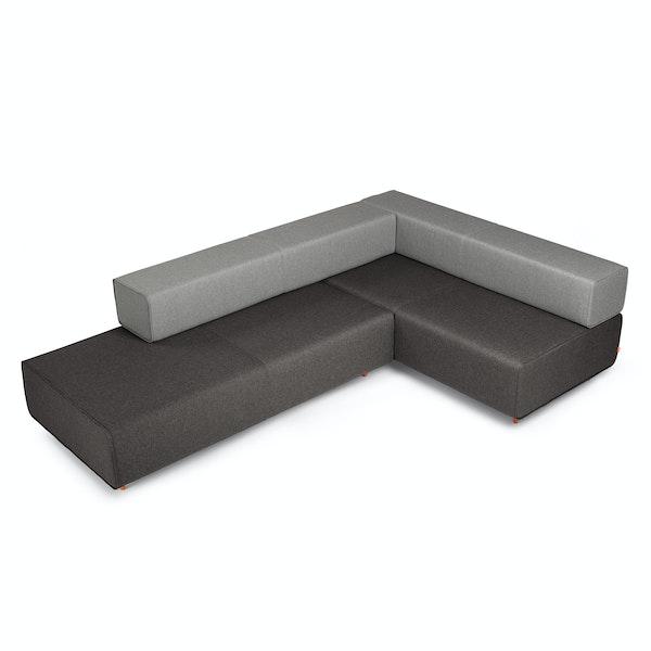 Dark Gray + Gray Block Party Lounge Corner Office,Dark Gray,hi-res
