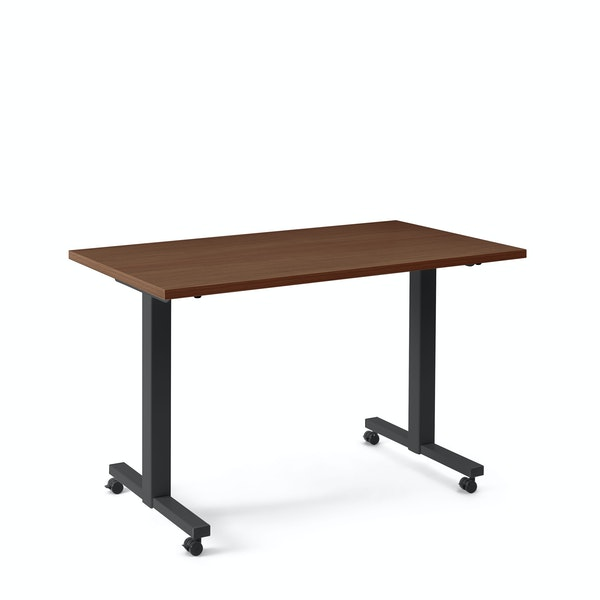 "Irons Flip Top Training Table, Walnut, 47"", Charcoal Legs,Walnut,hi-res"