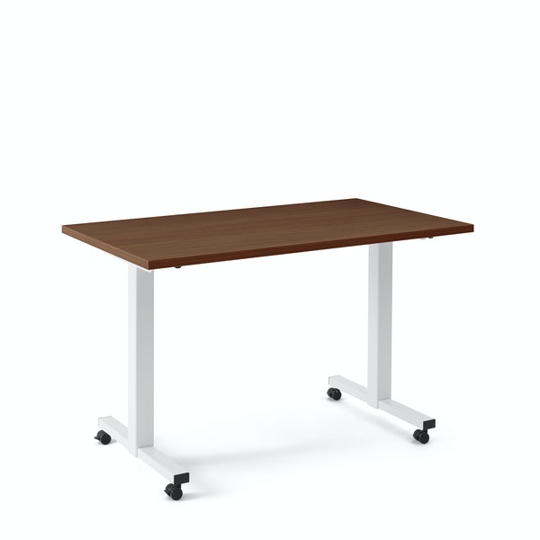 "Irons Flip Top Training Table, Walnut, 47"", White Legs,Walnut,hi-res"