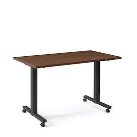 "Irons Flip Top Training Table, Walnut, 57"", Charcoal Legs"