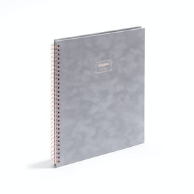Dove Gray Velvet Large Spiral Notebook,Dove Gray,hi-res