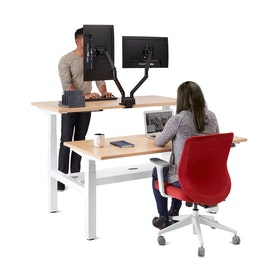"Loft Adjustable Height Standing Double Desk for 2, Natural Oak, 57"", White Legs,Natural Oak,hi-res"