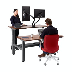 "Loft Adjustable Height Standing Double Desk for 2, Walnut, 57"", Charcoal Legs,Walnut,hi-res"