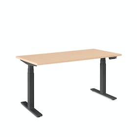 "Loft Single Desk, Natural Oak, 57"", Charcoal Legs,Natural Oak,hi-res"