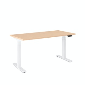 "Loft Single Desk, Natural Oak, 57"", White Legs,Natural Oak,hi-res"