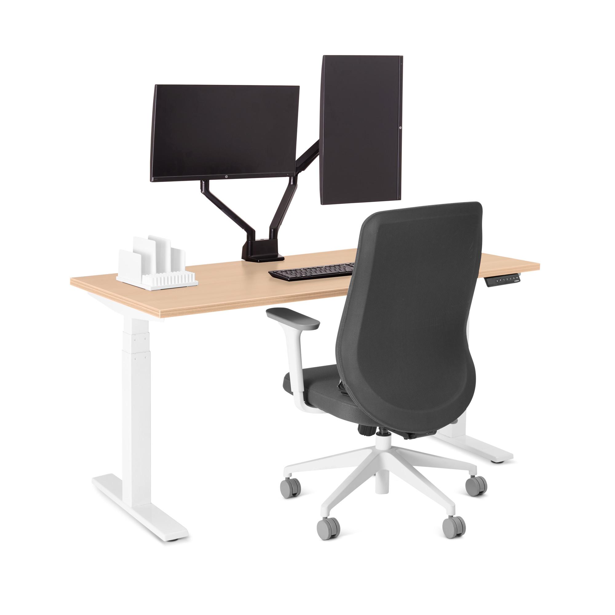 loft single desk natural oak 57 white legsnatural oak - Adjustable Height Computer Desk