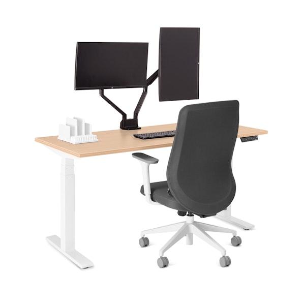 "Loft Single Desk, Natural Oak, 57"", White Legs,Natural Oak,hi-res"